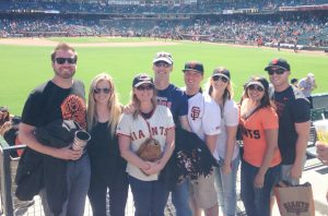 At a SF Giants vs. Minnesota Twins game (notice Dave's jersey), 2014